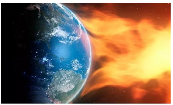 Sonnensturm ALARM: Weltraumwetteruhr, ausgegeben als Partikel von der Sonne, die die Erde schlagen