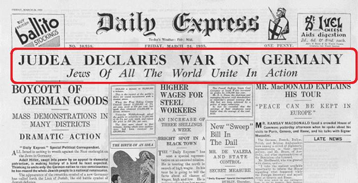"""Die jüdische Kriegserklärung vom 24. März 1933 im """"Daily Express"""""""